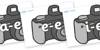 Modifying E Letters on Cameras - Modifying E, letters, modify, Phase 5, Phase five, alternative spellings for phonemes, DfES letters and Sounds