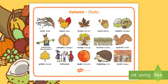 Autumn Word Mat English/Spanish - Autumn Word Mats - Word mat, Harvest, Autumn, seasons,  A4, display, harvest,  harvest festival, fru