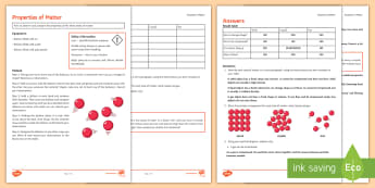 Properties of Matter Investigation Instruction Sheet Print-Out - Investigation Help Sheet, science practical, method, instructions, states of matter, matter, solid,