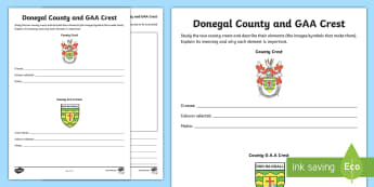Donegal County and GAA Crest Activity Sheet - worksheet, hurling, ireland, county, crest, coat of arms, sport, championship