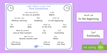 Time Conjunctions Word Mat Arabic/English - Time Conjunctions Word Mat - time connectives, mat, time, connectives, conectives, timeconnectives,