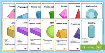 Proprietățile formelor tridimensionale Planșe - geometrie, bidimensionale, tridimensionale, română, materiale, activități,Romanian
