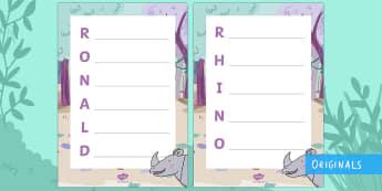 Ronald the Rhino Acrostic Poem - Ronald the Rhino, rhyming, pattern, story, jungle, Africa, rhino,