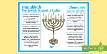 Hanukkah Information Poster English/German  - Chanukka, Judaismn, festival, EAL, German, English-German,,German-translation