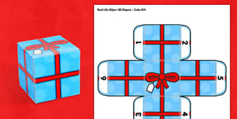 Real Life Object 3D Shapes Cube Gift Box Paper Model - shape, objects, cubes