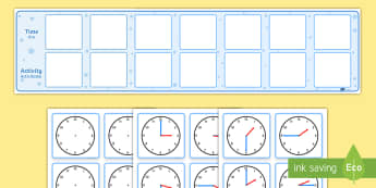 Visual Timetable Display with Clocks English/Romanian - education, home school, child development,