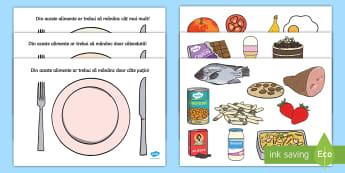 Alege alimentația sănătoasă Activitate - viață sănătoasă, alimentație sănătoasă, fructe și legume, alimente, roadele pământului,R