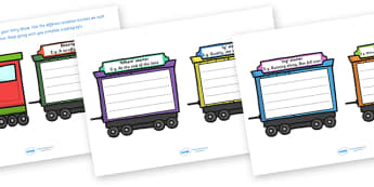 Sentence Starters Train Activity - activity, game, fun, sentence starters, sentence starters activity, train activity, transport activity, transport, fun activity, fun game, learning, play