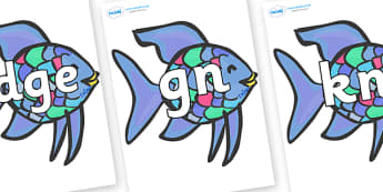 Silent Letters on Rainbow Fish to Support Teaching on The Rainbow Fish - Silent Letters, silent letter, letter blend, consonant, consonants, digraph, trigraph, A-Z letters, literacy, alphabet, letters, alternative sounds