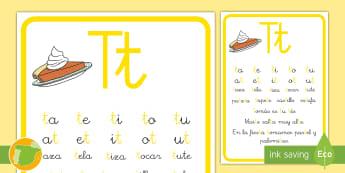 Cartilla de lectura: La letra T Hoja informativa - juego lectoescritura, juego lecto, juego didáctico, lecto, sonidos, lecto-escritura, fonemas, sonid