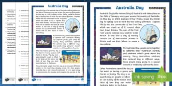 Australia Day Differentiated Reading Comprehension Activity - Australia Day, comprehension, national day, national celebration, European settlement, First Fleet,