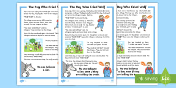 The Boy Who Cried Wolf Story - Develop pleasure in reading, motivation to read, vocabulary and understanding, Understand what they