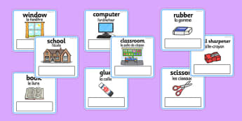 Everyday Objects at School Editable Cards French Translation - french, EAL, everyday objects, editable cards, EAL cards, cards with english, english, words, language