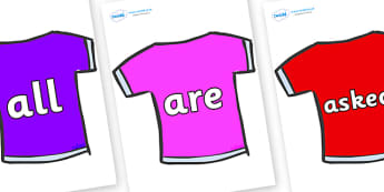 Tricky Words on T-Shirts - Tricky words, DfES Letters and Sounds, Letters and sounds, display, words