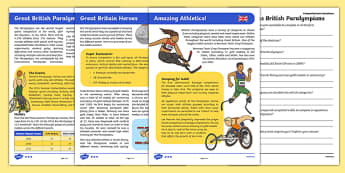 Great British Paralympians Differentiated Reading Comprehension Activity