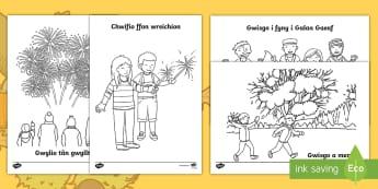 Taflenni Lliwio Gweithgareddau'r Hydref - Hydref, lliwio, Calan Gaeaf, Cymraeg, autumn, colouring, fireworks, Welsh, celf, art,,Welsh
