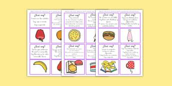 Juego de tarjetas de adivinar ¿Qué comida soy?