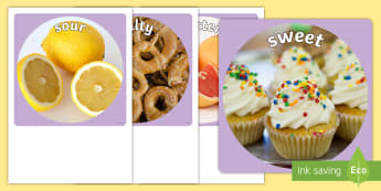 Sensory Words (Taste) Display Photo Cut-Outs - Australia, EYLF, senses, kindergarten, preschool, nursery, reception, pre-primary, prep, display,Aus