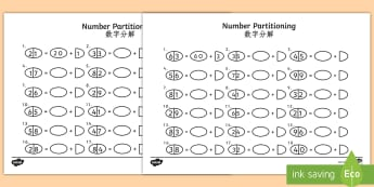 Tens and Ones Number Partitioning Activity Sheet English/Mandarin Chinese - Tens and Ones Number Partitioning Worksheet - number partitioning, number partitioning worksheet, te