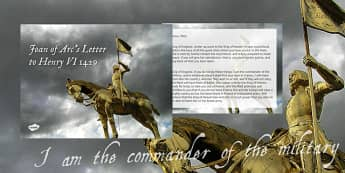 Joan of Arc's Letter to Henry VI 1429 PowerPoint - joan of arc, letter, henry vi, 1429, powerpoint
