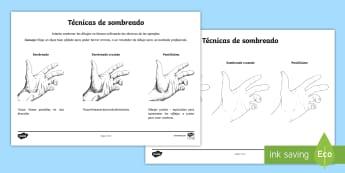 Ficha de actividad: Técnicas de sombreado - sombreado, sombrear, dibujo técnico, habilidades artísticas,Spanish