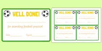 Football Attendance Reward Cards - football, attendance, reward, cards, sports