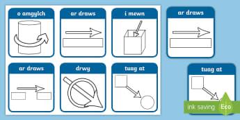 Cardiau Symbol Arddodiaid Lleoliadol - Symbolau, Arddodiaid, lleoliadol, Llythrennedd, Directional, Prepositions, Symbols, Literacy,,Welsh-