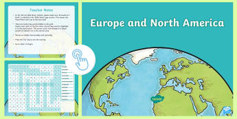 Europe and North America Interactive Word Search  - ACHASSK111, Year 5, AC, Geography, vocabulary, word recognition, metalanguage, spelling,Australia