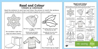 Winter Read and Colour Activity Sheet Romanian/English - Winter Read and Colour Activity Sheet - winter, read and colour, read, colour, activity,Romanian-tra