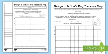 Design a Father's Day Treasure Map Activity Sheet - ACMMG113, year 5 maths, fathers day, fathers day maths, describe locations, worksheet, grid system,