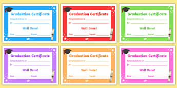 Editable Graduation Certificates - Primary Certificates and Awards
