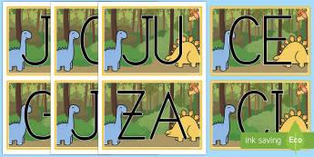 Tarjetas de sílabas: Los dinosaurios  - Los dinosaurios, proyecto, transcurricular, seres vivos, estegosaurio, pterodáctilo, braquiosauro,