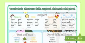 Vocabolario Illustrato Giorni mesi e Stagioni - Giorni, mesi, stagioni, vocabolario, illustrato, italian, italiano, english, inglese