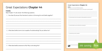 Chapter 44 Estella Activity Sheet to Support Teaching on Great Expectations by Charles Dickens - Charles Dickens, Great Expectations, Pip, Estella, Miss Havisham, Satis House, character evaluation,
