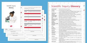 Scientific Inquiry Glossary - Glossary, variable, categoric, data, conclusion, resolution, independent, dependent, hypothesis