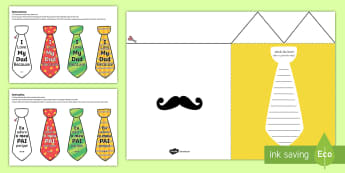 Father's Day Flap Tie Card Craft English/Portuguese - Fathers Day Flap Tie Card Craft - fathers, day, flap, tie, card, australia, fathers day ideas, prese