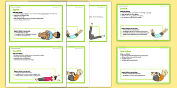 Foundation PE (Reception) - Types of Rolls Teacher Support Cards - EYFS, PE, Physical Development, Planning