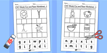 CVC Words Cut and Paste Worksheets i - CVC worksheets, CVC words