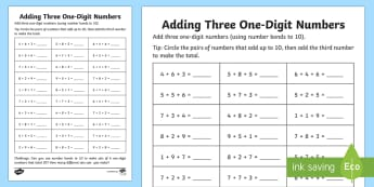 Adding Three One Digit Numbers (Using Number Facts to 10) - addition, number bonds to 10, friends of 10, mental strategy,Australia
