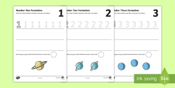 Space Themed Number Formation Activity Booklet - numbers to 10, number formation, handwriting,Australia, space, number, formation, counting , overwriting