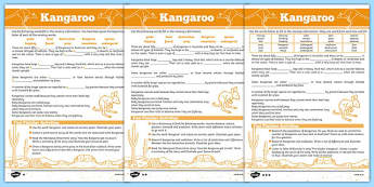 Australian Animals Years 3-6 Kangaroo Differentiated Cloze Passage Activity Sheet - australia, Australian Curriculum, animals, marsupials, kangaroo, differentiated, cloze, fast finisher, information, reading, worksheet