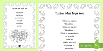 Tutira Mai Song and Colouring in Activity Sheet Te Reo Máori - Tutira mai, song, waiata, colouring in, maori, worksheet