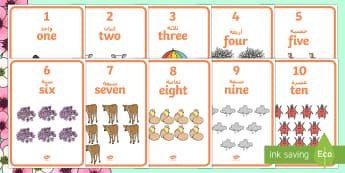 Spring Themed 1-10 Word and Number Display Posters Arabic/English - Winter Themed Number Posters with Words & Numbers (1-10) -  Winter, numeracy, counting, number poste
