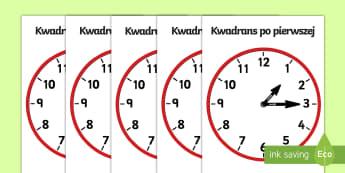 Plakaty Zegary analogowe Kwadrans po - zegar, zegarek, czas, godzina, godziny, podawanie, odczytywanie, czasu, analogowy, wskazówki, kwadr