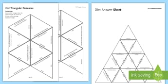 Diet and Nutrition Triangular Dominoes  - Tarsia, Diet, Nutrition, Carbohydrate, Protein, Lipids, Fibre, Water, Obesity, Overweight, Underweig, plenary activity