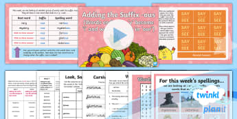 PlanIt Spelling Year 4 Term 3B W3: Adding the Suffix 'ous' (Words Ending in 'y' and Words Ending in 'our') Spelling Pack - PlanIt, Spellings, Year 4, Term 3B, W3, suffixes, ous, spelling pattern, spelling string, change to