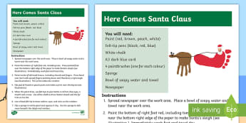 Here Comes Santa Claus Activity - christmas, holiday, sensory, reindeer, print, art, craft,