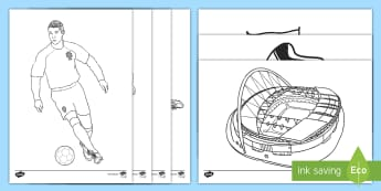 Football Colouring Pages - Soccer, Ronaldo, World Cup, Wayne Rooney, Bobby Moore, premiership
