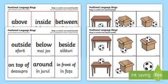 Positional Language Bingo English/Romanian - Positional Language Bingo -  game, Positional Language, Position Words, up, down, inside, outside, n