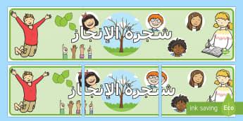لوحة شجرة الإنجاز  - شجرة الإنجاز، بانر، عربي، لوحة، لوحات، ملصقات، تحفيز،